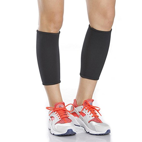 GUDESKY Sweat Neoprene Slimming Leg Calf Compression Stretch Sleeve Prevent Varicose Veins Hot Shapers Socks Shaping Elastic Shank Legs to Burn Fat 1 Pair