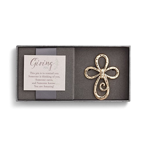DEMDACO Loop Cross Goldtone Hammered One Size Women's Metal Giving Pin in Gift Box