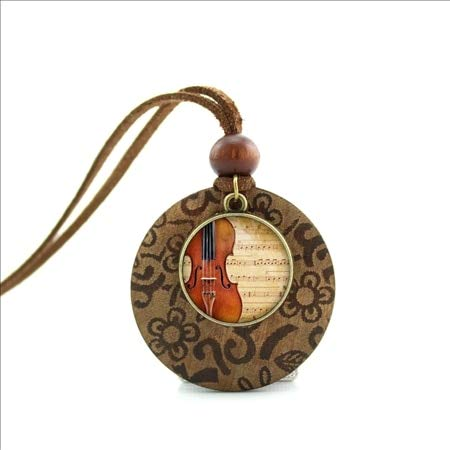 Davitu New Design Long Wood Necklaces Violin Pendant Violin Jewelry Music Hipster Jewelry Glass Necklace NWL-001 - (Metal Color: Bronze)