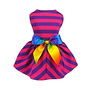 Fitwarm Striped Pet Clothes for Dog Dresses Sundress Cat Vest Shirts Apparel Cotton Purple 14