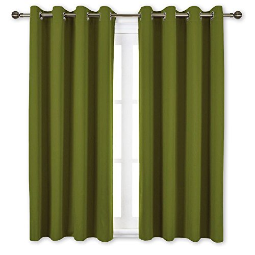 NICETOWN Blackout Curtains for Living Room   Functional Blackout DrapesPanels for Bedroom Thermal Insulated Privacy Assured Set of 2 52 x 63 Inch in Olive Green