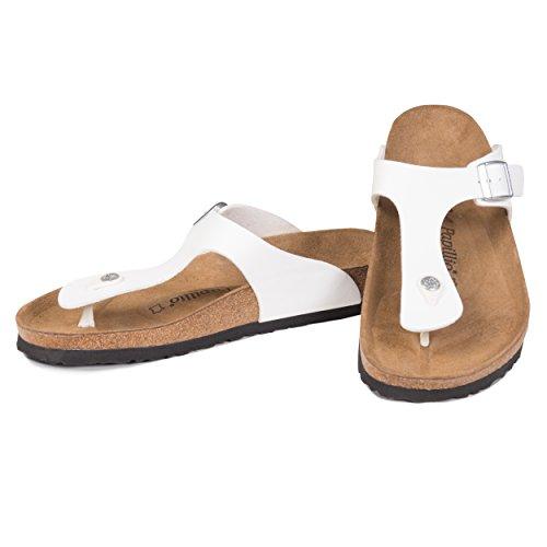 Papillio by Birkenstock Gizeh - Unisex Sandalen / Zehentrenner aus Birko-Flor mit Fußbett aus Leder - Weiß - EU 43