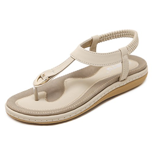 Meeshine Women's Bohemia Flip Flops Summer Beach T-Strap Flat Sandals Comfort Walking Shoes Apricot US 5.5