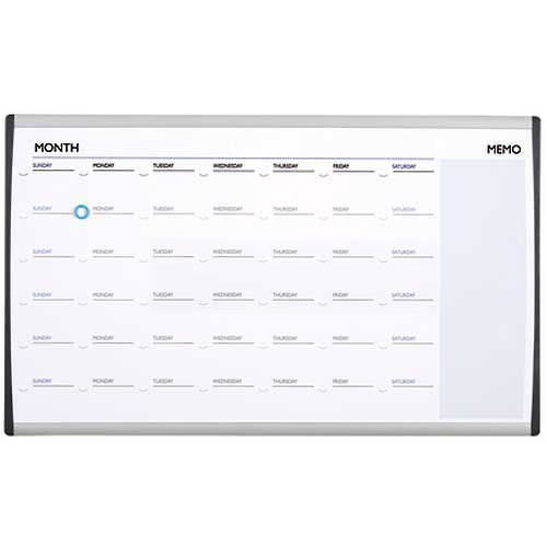Quartet Arc Cubicle Whiteboard Calendar, White, 18 x 18 - Lot of 3