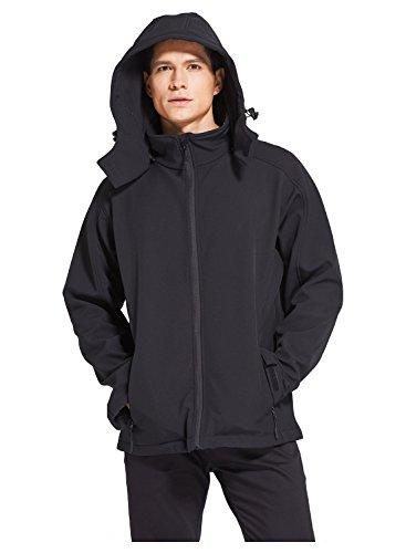 Landisun Hooded Jacket Soft Shell Mens Aurora Series High Tech (Aurora, Black Size XL) (Jacket Soft Stretch Shell)