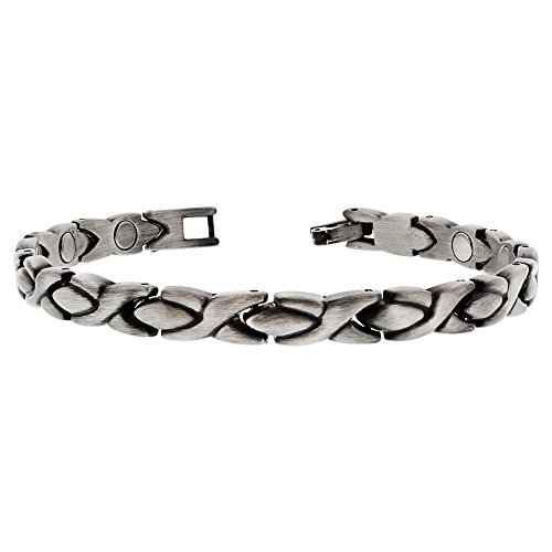 Gem Avenue Silver Hugs Kisses Magnetic Link Therapy Bracelet with Fold Over Clasps (Kisses Bracelet Magnetic)