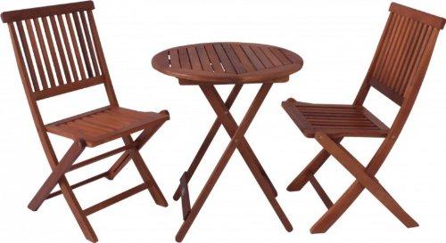 Balkon-Set Gartentisch 2 Gartenstühle klappbar Eukalyptus FSC Holz, geölt