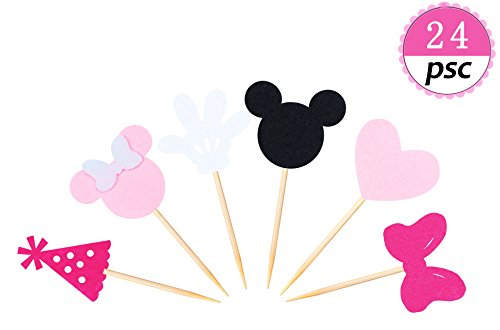 JAGGER M Minnie Mouse Inspired Cupcake Toppers (Set of 24) Girls Pink Birthday Party Minnie Decorations Baby Kids