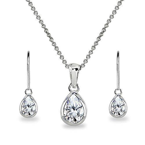 Sterling Silver Cubic Zirconia Teardrop Bezel-Set Pendant Necklace & Dangle Earrings Set for Women, Teen Girls ()