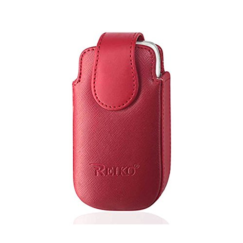 Cingular Leather (Red Leather vertical Rotating clip case with magnetic Closure fits Cingular Flip 2)