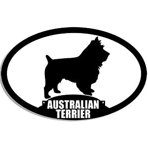 MAGNET 3x5 inch Oval Australian Terrier Silhouette Sticker (Dog Breed) Magnetic vinyl bumper sticker sticks to any metal fridge, car, signs 17
