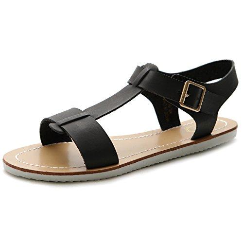 Ollio Women's Shoe Strap Side Buckle Slingback Multi Color Flat Sandal ML003(7 B(M) US, (Buckle Slingback Sandal)