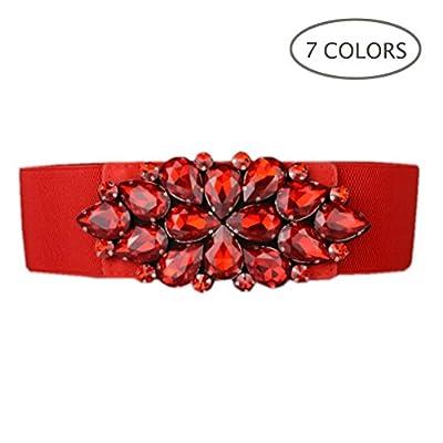 Dorchid Women Rhinestone Belt Crystal Elastic Waist Floral Cummerbund for Dress