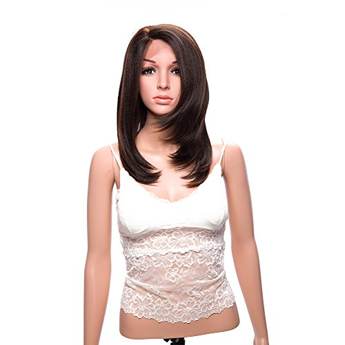 Brown Wig Synthetic Lace Front Wigs for Women Yaki Straight L Part