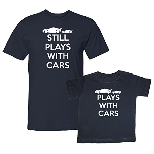 We Match! Plays with Cars & Still Plays with Cars Matching Adult T-Shirt & Child T-Shirt Set (Youth Medium T-Shirt, Adult T-Shirt 2XL, Navy)