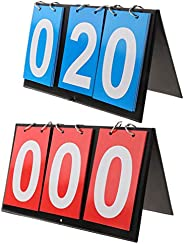 1 Pair (Red and Blue) 3 Digit Table Top Basketball Football Games Scoreboard Indoor Outdoor Easy-Flip