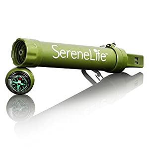 SereneLife Portable 1500L Survival Water Filter, BPA Free, for Hiking, Camping, Hunting, Fishing, Includes Survival Kit Supplies, Paracord, Compass, Whistle, Mirror, Travel Carabiner. (SLWFS10)