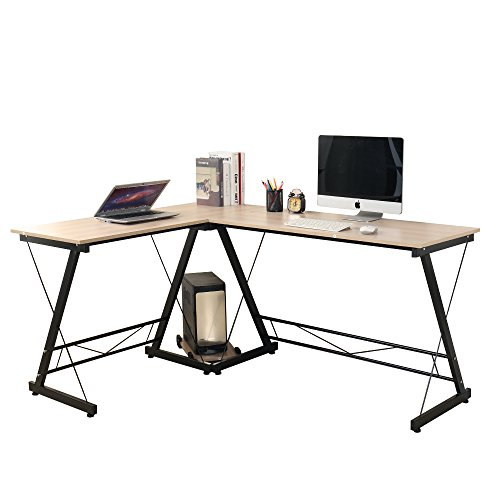 Soges L-Shaped Desk 62″ Computer Desk Computer Table Workstation, White Oak WK-0035-MO