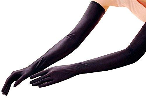 EPYA Women's Long Satin Elbow Five Finger Gloves Bridal Wedding Party, (Arm Length Gloves)