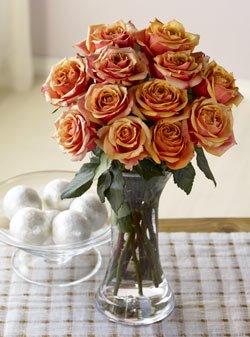 One Dozen Majestic Sunset Roses One Dozen Organic Bouquet