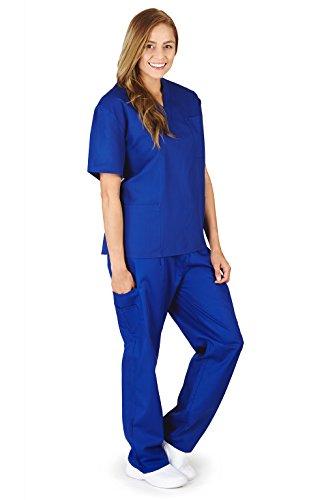 M&M Scrubs Women Scrub Set Medical Scrub Top and Pants XXL Royal Blue
