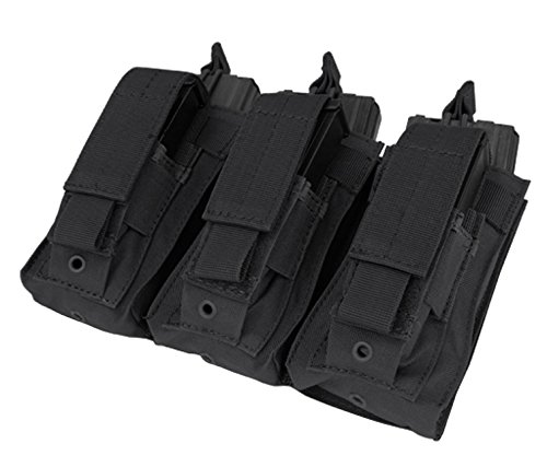 Molle Tactical 3 Triple Pistol Kangaroo Mag Ammo Pouch Bag - BLACK