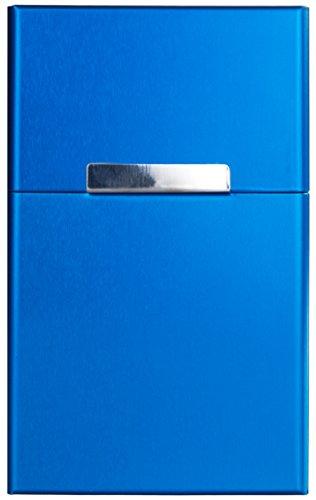 YELLOH 2er Set Herren Zigarettenetui Volumen: 20 Stk Zigaretten Blau Zigarettenbox Aluminium Etui Box Behälter mit Magnetverschluss für Zigarettenschachtel mit 20 Zig. blau 0IDU8Enu