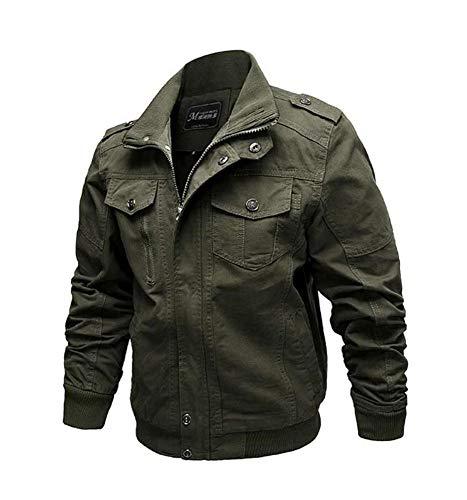 Huateng Men's Motorcycle Jacket Classic Tooling Jacket Green