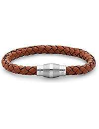 "TARA Legacy ""Leather Collection"" Steel Barrel Braided Light Brown Leather Bracelet"