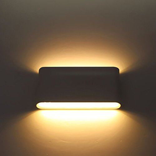 Wall Mounted Lamp, Wall Sconces, Alotm Modern Aluminum12w LED IP65 Waterproof Outdoor Night Lights Garden Lights Corridor Wall Lamp Home Hotel Lights, Up and Down (Black Body-Warm White Light3000K) from Alotm
