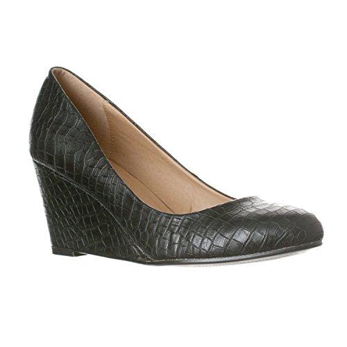 Black Toe Pumps Leah Round Croc Women's Mid Heel Wedge Riverberry 8q1Rwq