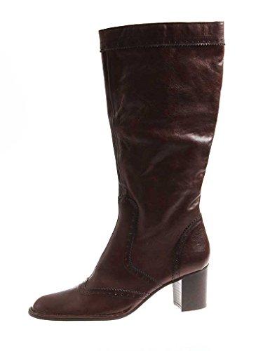 YKX & Co Stiefel Lederstiefel Langschaft Damenschuhe Stiefel Damen 2856 Italy Dunkelbraun