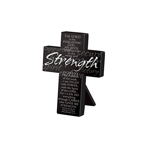 Lighthouse Christian Products Small Metal Black Strength Desktop Cross, 3 3/4 x 5'' by Lighthouse Christian Products