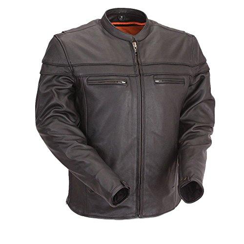 First Manufacturing Men's Maverick Motorcycle Jacket, Black, - Mt Maverick