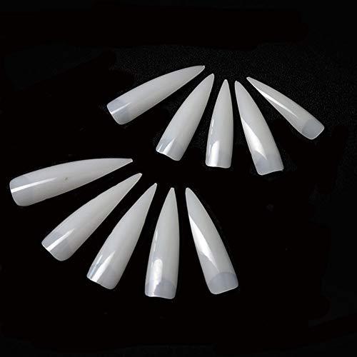 Long Sharp Nails Tips 500Pcs Natural Half Cover