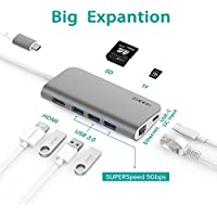 ANYQOO 8 in 1 Portable USB-C Hub with Type-C Port, Gigabit Ethernet, HDMI Output, SD/TF Card Slot, 3 USB 3.0 Ports for MacBook Pro, Google Chromebook, iMac 2017 and More(Gray)