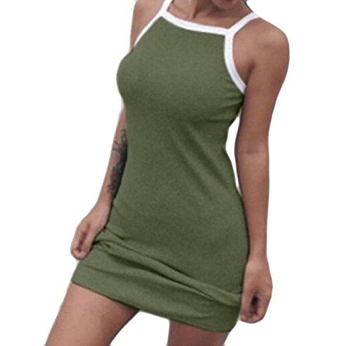 Sottile Militare Color Verde Solido Abito donne Sleeveless Montato Slittamento Coolred Mini Sexy AqnzStvzwx