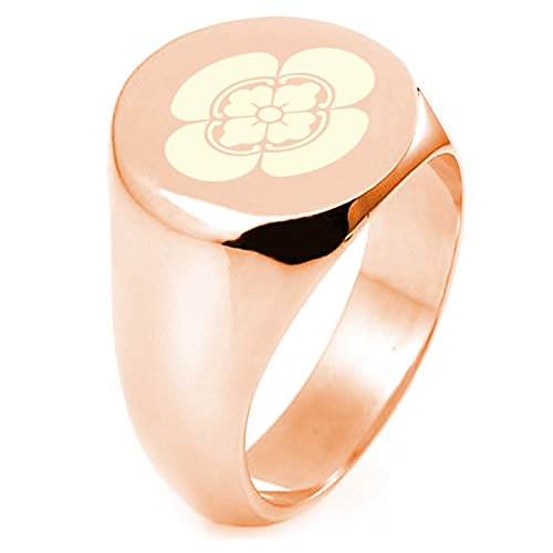 Rose Gold Sterling Silver Ikeda Samurai Crest Round Flat Top Polished Ring, Size 8