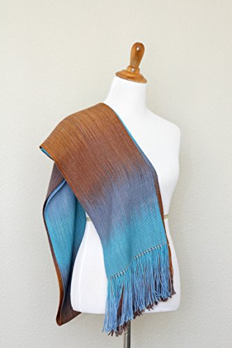 Woven scarf, pashmina scarf, women wrap, gradient color turquoise, blue and brown long with fringe gift for her by KGThreads