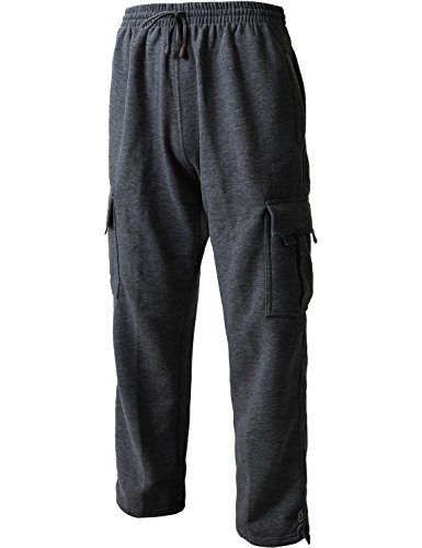 Hat and Beyond Men's Cargo Sweatpants Heavyweight Fleece Long Pants 60/40 S-5xl (Medium, 1RD0005 Charcoal) - Heavyweight Fleece