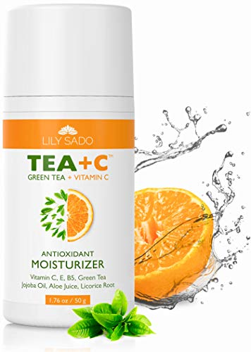 LILY SADO TEA+C Green Tea and Vitamin C Daily Moisturizer - Antioxidant, Anti-Wrinkle Replenishing Face Cream for Women and Men - Natural Facial Moisturizing Lotion Softens, Hydrates, Firms & Tones