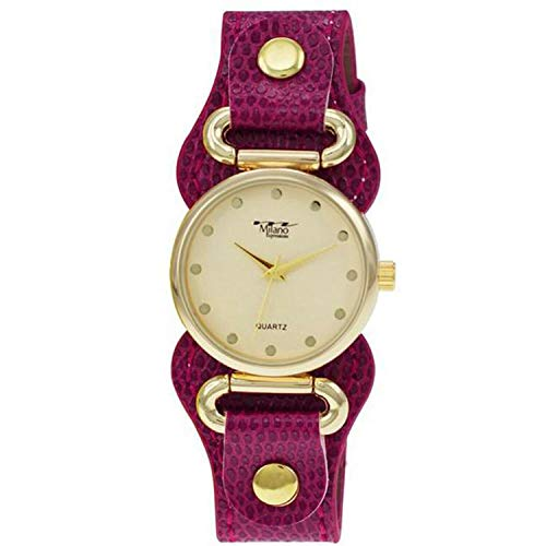 34mm Milano Expressions Women's Fashion Cuff Vegan Leather Strap Wrist Watch