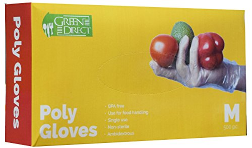 Green Direct Disposable Gloves/Food Grade Household Plastic Gloves/Food Preparation BPA Free Cleaning Gloves, Box of 500, Size Medium