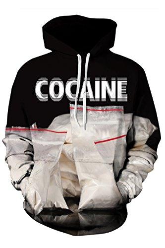 b6c3e3b2c292 Timemory Unisex Cocaine Printed Pockets Drawstring Hoodie Sweatshirt XL  Print  7