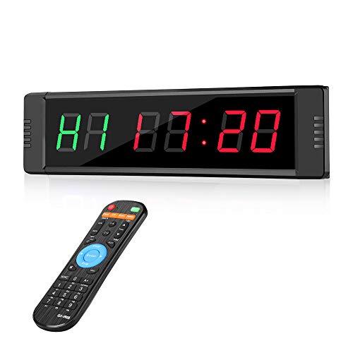 Riiai Programmeerbare LED Interval Timer Real Time Clock Stopwatch Sport met afstandsbediening voor Crossfit, Tabata…