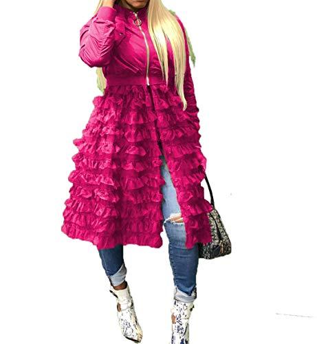 (Womens Jackets Ruffled Sheer Mesh Long Sleeve Zip Up Shirt Dress Tops Windbreaker Anorak Trench Coat Outwear S-3XL Rose)