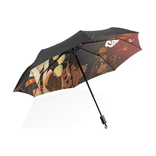 (Umbrella Hot Anime Halloween Wallpaper Folding Sun Protection Anti-UV Umbrella Windproof Lightweight for)
