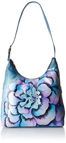 Anuschka Anna by Handpainted Leather Large Hobo, Marigold Denim