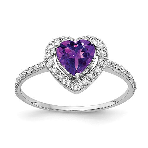 14K White Gold 6mm Heart Amethyst AA Diamond Ring