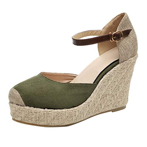 Platform Wedge Sandals for Women,Casual Espadrille Point Toe Ankle Strap Buckle Up Roman Shoes (US:5.5, Green) -
